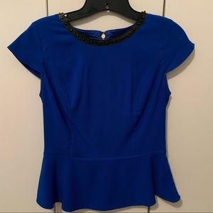 Express blue studded peplum top sz xs worn once